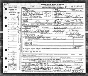 Callie Franklin Ooley - Death Certificate 1966