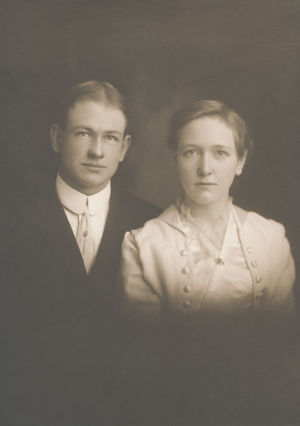 Peter W. Stoner and Edith Hazel Forrey wedding photo.