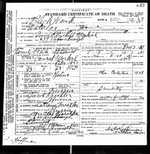 Iowa Death Certificate for Anna Elisabeth Morkal