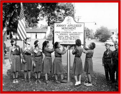 Girl Scouts at the Johnny Appleseed Marker c. 1950s