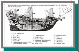 Drawing of Mayflower interior