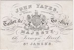 John Yates, Tailor to Her Majesty