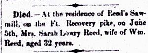 Sarah Lowry Reed Obituary, Democrat 10 Jun 1874 Page 3