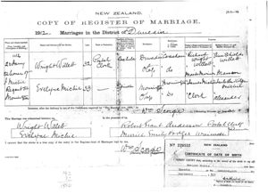Marriage certificate of Wright Willett & Evelyn Michie