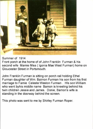 John Franklin Furman on porch rail with son John Baimon Furman kneeling with his twins abt 1914 Portsmouth VA Source CD Griffin-7743 family photo collection