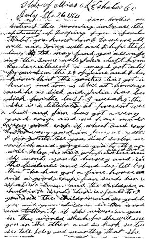 Letter from Margret E. McKee  to her brother Enoch S. Jones, 1864