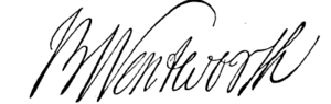Benning Wentworth - First Royal Governor of New Hampshire - Signature