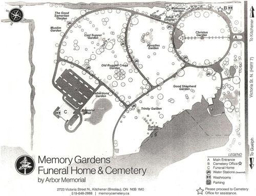 Memorial Gardens Map