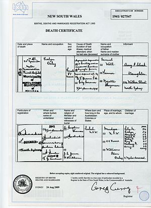 Evelyn Oxley death certificate