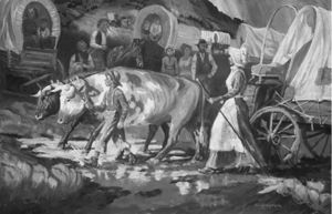 Joseph with Mary Fielding on the Oregon Trail