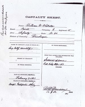 William W. Whittaker Civil War Records Casualty Sheet 5