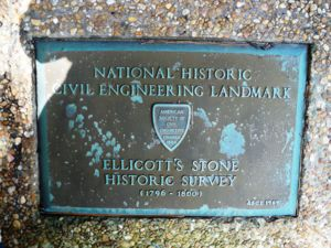 Placard at historic site of Ellicott's Stone, North Mobile County, Alabama.