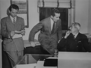 James Sirmons (left) with Edward R. Murrow (center) and Ted Church (right).
