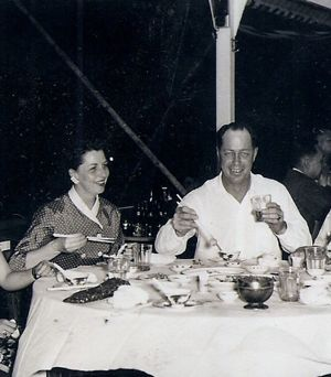 Virginia Thieman at dinner in Hong Kong