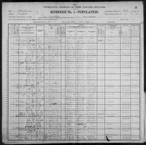 1900 Census ED 60 Olive & Wood Townships, Garfield, Oklahoma Territory