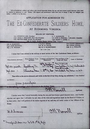 Otway B. Norvell - Application to Old Confederate Soldiers Home , Application Form