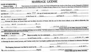 Marriage Record for Marjorie