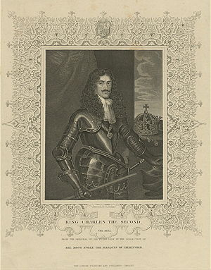 Charles II as king in full armor.