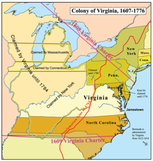 US Southern Colonies Virginia - Jamestown on us map