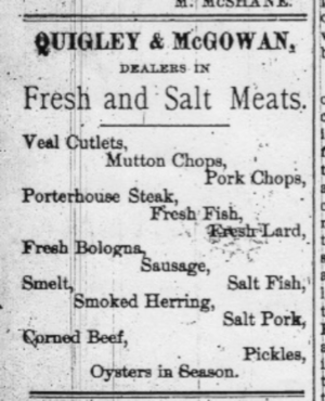 Quigley-McGowan Meats advertisement
