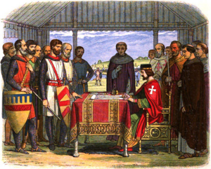 Barons and Bishops watch King John sign Magna Carta