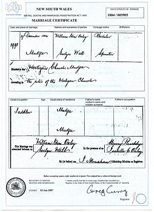 Evelyn Wall and William Oxley marriage certificate.