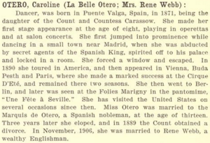 OTERO, Carolina (La Belle Otero; Mrs Rene Webb)