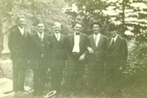 Hubert Borchardt (left), August Bethold, Lou Coleman, Bill Allen, Henry Brophey, and John Williams (right)