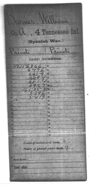 William Barnes- Military Record- Spanish American War