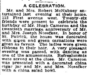 Hugh Cameron has a birthday party