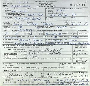 Death Certificate for Louie Esther (Stanley) Stoner (1874-1964)