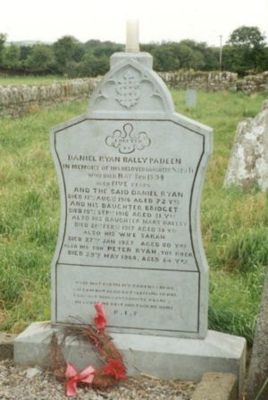 Headstone of Daniel Ryan and family