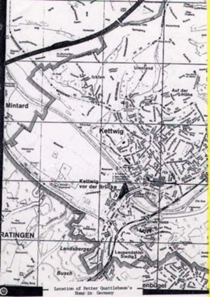 Kettwig, Germany area map where Peter Quattlebaum, Anna von Der Hutte lived prior to coming to America