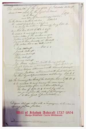 Orphans Court Petition: Daniel Ashcraft 1761-1846, Father - Ichabod Ashcraft 1737-1804 Will of Ichabod Ashcraft 1737-1804