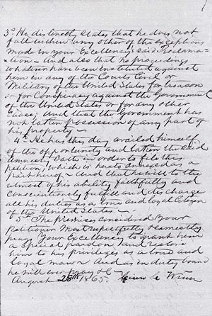 Cicero Winn Amnesty Papers Petition for Pardon Page 3