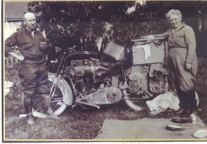 Leo Jumper and wife, Fannie, with his Indian motorcycle.