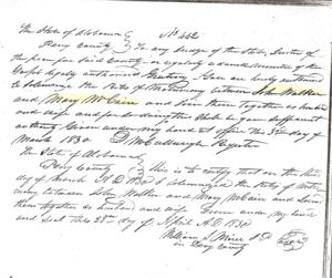 John Walker & Mary Mccain marriage letter