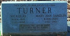Nickolas and Mary Turner tombstone