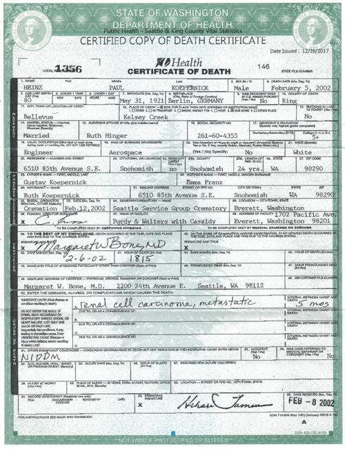 Heinz Koepernick Death Certificate