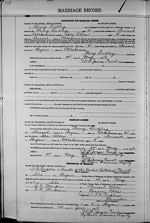 Allen-Lindley Marriage Cert