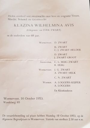 Klazina Wilhelmina Avis Death Notice