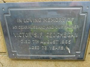 The Memorial Plaque of Victor S F Geoghegan