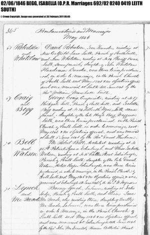 George Craig and Isabella Begg Marriage Record