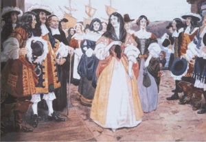 The Arrival of the French Girls at Quebec, 1667. Watercolour by Charles William Jefferys