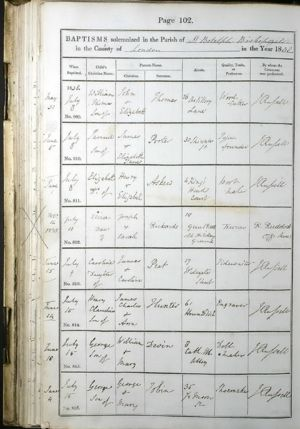 Register showing Eliza (Hall) Rickard's Baptism