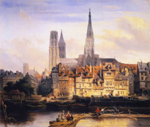 View of the Paris Quay and the Cathedral at Rouen (1839)