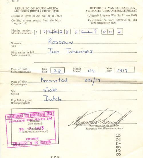 jan johannes rossouw birth certificate