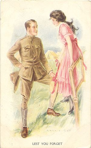 'Lest You Forget' Soldier Postcard