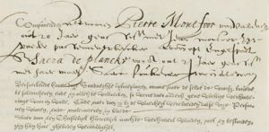 Marriage (banns) Amsterdam 1 March 1636, Pierre Montfoor  and Sara de Plancke
