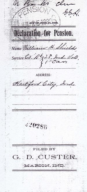 Weeden Shields Civil War Pension File Image 1